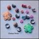 50 perles variées fimo multicolores 6-23mm trou 1mm
