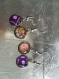 Lot de 4 boucles pendantes cabochon désassorties couleur rose, mauve, violet