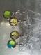 Lot de 4 boucles pendantes cabochon désassorties couleur bleu, vert, jaune