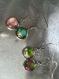 Lot de 4 boucles pendantes cabochon désassorties couleur bleu, vert , rose