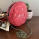 Sac rond - cuir végan rose imitation serpent