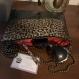 Sac cuir végan noir et léopard doré