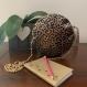 Sac rond - cuir végan doré - imprimé léopard