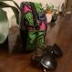Sac rond - cuir végan noir - wax fleur de mariage rose fuchsia et vert