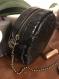 Sac rond - cuir végan crocodile noir