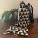 Sac cabas coton couleur lin à motif géometrique