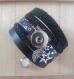 Bracelet manchette noir unique avec pression offerte