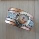 Unique bracelet manchette rose cuivré pression offert