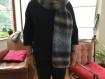 Écharpe mohair bleu/gris
