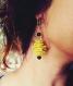 Boucles d'oreilles dormeuse cuire jaune moutarde