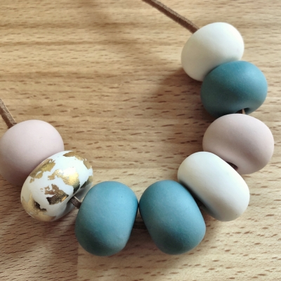 Collier perles pastel 2 fimo