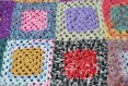 Couverture plaid crochet vintage rétro granny hippie multicolore