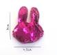 Barrette anti  pour bébé ou petite fille glisse lapin perles sequins fuchsia