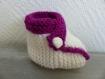 Chaussons bébé 0-6 mois blanc/violet