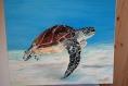 Peinture tableau toile artisan pièce unique cadre décoration d'intérieure, cadeau ,mariage ,animal,tortue,mer