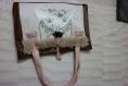 Sac artiste pièce unique sac épaule grand format sac cabas pratique original cadeau noel sac peinture chat marron tendance