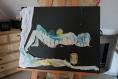 Tableau toile chassis pièce unique signé acrylique art moderne collage tissu nu cadeau