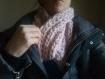 Snood  epais en laine rose  fait main