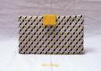Portefeuille graphique etoiles japonaises jaunes, noires et grises - jaune