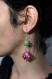 Boucles d'oreilles vertes et roses