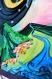 Tableau surréaliste type illustration, en quilling et peinture