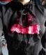 Jabot en dentelles noir et rose