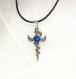 Dragon epée croix verre dicroique bleu fusing glass homme