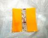 Plat  assiette orange  fusion fusing glass