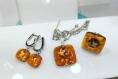 Parure 3 pieces bague boucles d'oreilles pendentif en verre fusing glass