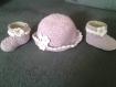 Ensemble chaussons et chapeau 0 a 3 mois bois de rose au crochet