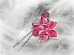 Pince à chignon couleur fuchsia-argent et fleur en satin couleur fuchsia