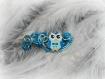 Jolie pince clip dans les tons bleu avec perle bois hibou