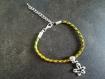 Bracelet kumihimo et petite fleur en bélière - ref bk002