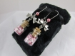 "Boucles d'oreille ""fiole & ourson rose"""