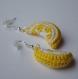 Boucles d'oreille citron au crochet