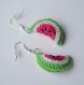 Boucles d'oreille pastèque au crochet