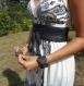Ceinture corset, obi cuir noir, à nouer, mariage, soirée.