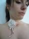 Bracelet mariage, fleur brodée ivoire.