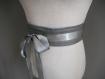 Ceinture obi en cuir gris foncé, ceinture de grossesse, serre taille.