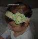Bandeau bébé, cadeau naissance fleur vert tendre crochet.