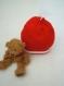 Bonnet bébé tricoté mixte noel rouge et blanc lutin.