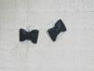 Parure, bijoux nœuds de cuir noir.