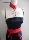 Parure ceinture obi et collier corset en cuir rouge carmin.