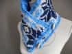 Echarpe portefeuille hommes en laine jacquard bleu.