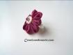 Bague rétro fleur de soie bordeaux bakky.