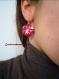 Boucles d'oreilles fleurs de tissu fleur rouges