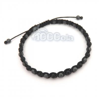 1b36ff1f5c4 Bracelet style shamballa homme men s perles beads agate noir mat 4mm+  hématite gris 4mm+ fil nylon