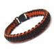 Bracelet homme style bracelet de survie - paracorde fil tressé ciré coton noir-orange