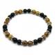 Mode tendance bracelet homme perles agate noir mat (onyx) + pierre naturelle picasso jasper 6mm + anneaux