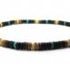 Collier style surfeur/surf homme/femme perles pierre naturelle véritable turquoise stabilisée bois cocotier/coco Ø 8mm cs-2